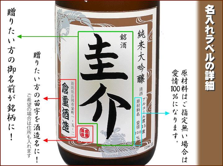 名入れラベルの詳細 贈りたい人の名前が純米大吟醸酒のラベルに!銘柄に!苗字は酒造になります!