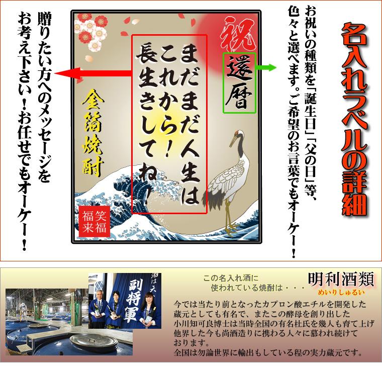メッセージはもちろん、祝還暦や誕生日などの御祝いの言葉も入ります。金箔焼酎は茨城県の酒造、明利酒類。